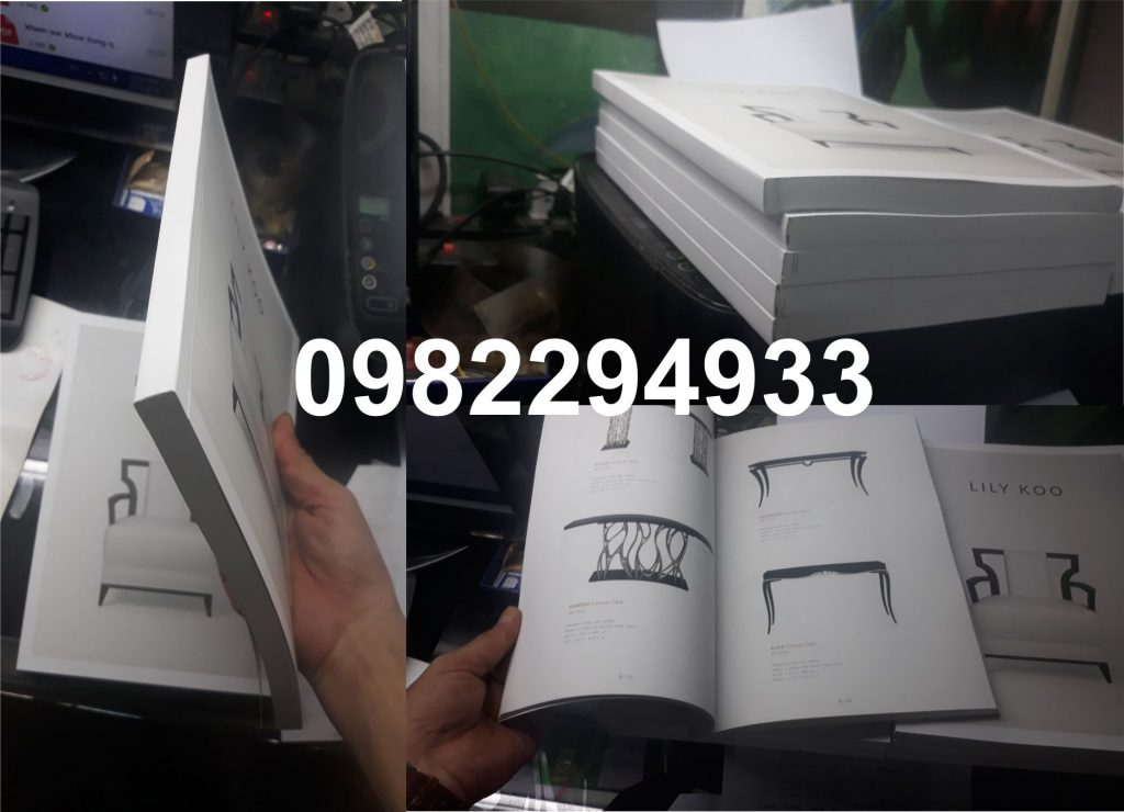 in nhanh catalogue đóng keo gáy 200 trang